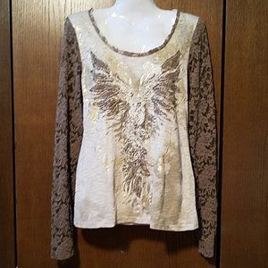 MISS ME EMBELLISHED LACE SHIRT SZ MEDIUM
